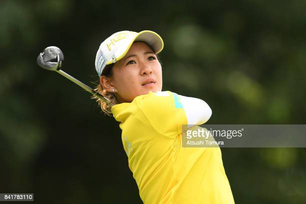Kana Nagai of Japan hits her tee shot on the 17th hole during the second round of the Golf 5 Ladies Tournament 2017 at the Golf 5 Country Oak Village...