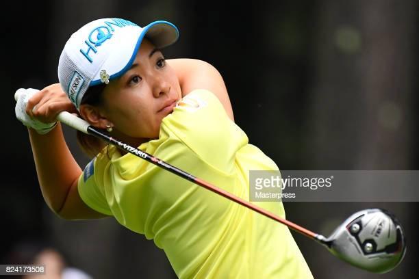Kana Nagai of Japan hits her tee shot on the 18th hole during the third round of the Daito Kentaku Eheyanet Ladies 2017 at the Narusawa Golf Club on...