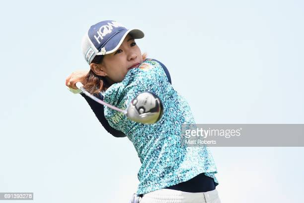 Kana Nagai of Japan hits her tee shot on the 1st hole during the first round of the Yonex Ladies Golf Tournament 2016 at the Yonex Country Club on...