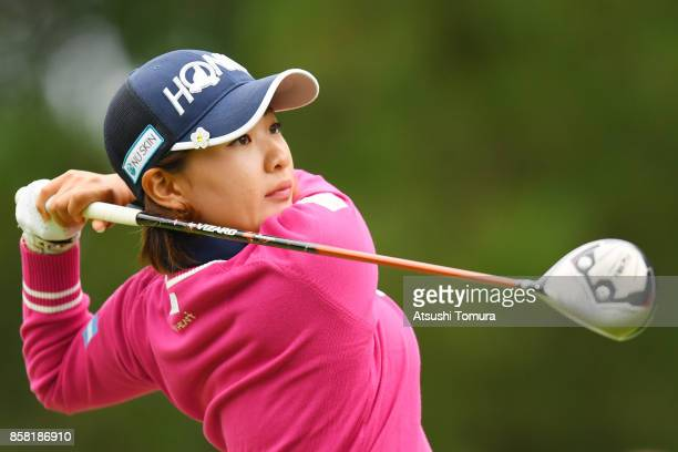 Kana Nagai of Japan hits her tee shot on the 1st hole during the first round of Stanley Ladies Golf Tournament at the Tomei Country Club on October 6...