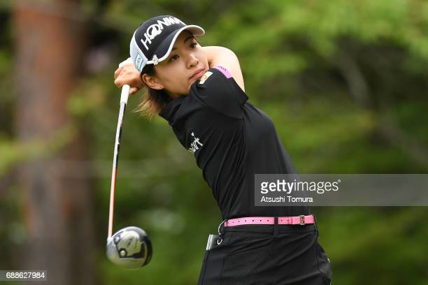 Kana Nagai of Japan hits her tee shot on the 2nd hole during the first round of the Resorttrust Ladies at the Oakmont Golf Club on May 26 2017 in...
