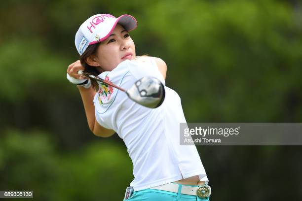 Kana Nagai of Japan hits her tee shot on the 2nd hole during the final round of the Resorttrust Ladies at the Oakmont Golf Club on May 28 2017 in...