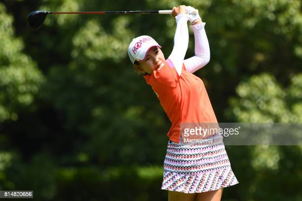 Kana Nagai of Japan hits her tee shot on the 2nd hole during the second round of the Samantha Thavasa Girls Collection Ladies Tournament at the Eagle...