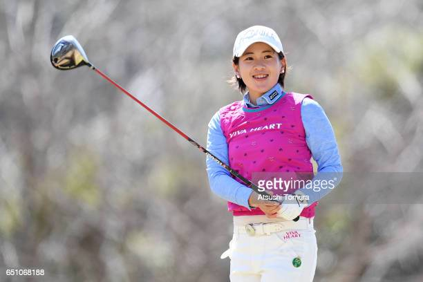 Kana Nagai of Japan hits her tee shot on the 3rd hole during the first round of the Yokohama Tire PRGR Ladies Cup at the Tosa Country Club on March...