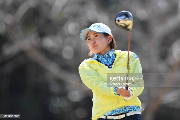 Kana Nagai of Japan hits her tee shot on the 3rd hole during the final round of the Yokohama Tire PRGR Ladies Cup at the Tosa Country Club on March...