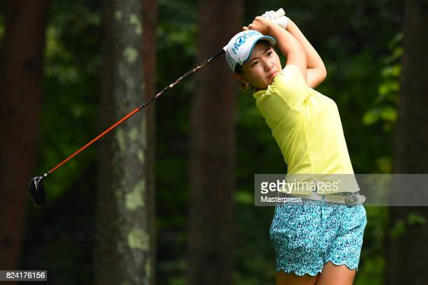 Kana Nagai of Japan hits her tee shot on the 3rd hole during the third round of the Daito Kentaku Eheyanet Ladies 2017 at the Narusawa Golf Club on...