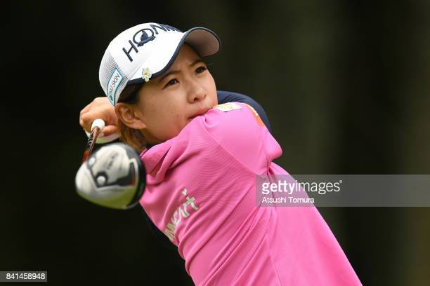 Kana Nagai of Japan hits her tee shot on the 3rd hole during the first round of the Golf 5 Ladies Tournament 2017 at the Golf 5 Country Oak Village...