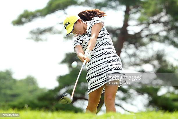Kana Nagai of Japan hits her tee shot on the 4th hole during the second round of the NEC Karuizawa 72 Golf Tournament 2016 at the Karuizawa 72 Golf...
