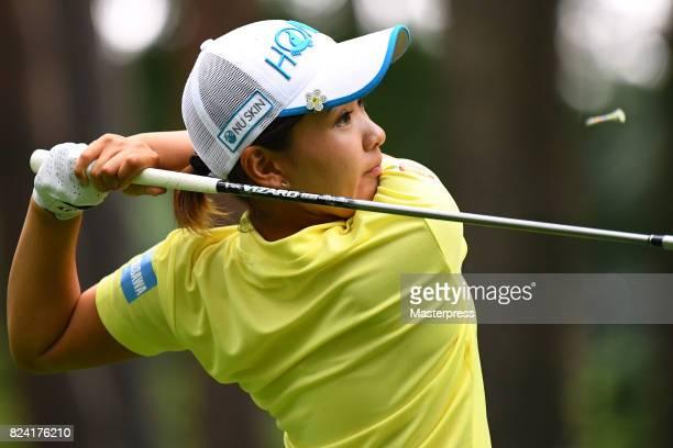 Kana Nagai of Japan hits her tee shot on the 7th hole during the third round of the Daito Kentaku Eheyanet Ladies 2017 at the Narusawa Golf Club on...