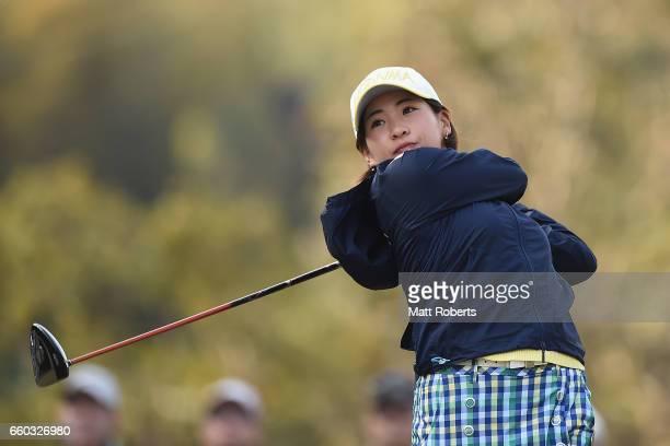 Kana Nagai of Japan hits her tee shot on the first hole during the first round of the YAMAHA Ladies Open Katsuragi at the Katsuragi Golf Club Yamana...