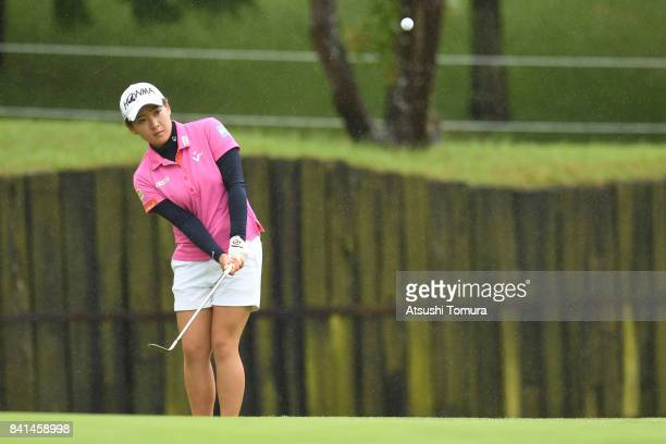 Kana Nagai of Japan lines chips onto the 9th green during the first round of the Golf 5 Ladies Tournament 2017 at the Golf 5 Country Oak Village on...