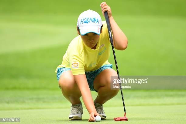 Kana Nagai of Japan lines up during the third round of the Daito Kentaku Eheyanet Ladies 2017 at the Narusawa Golf Club on July 29 2017 in Narusawa...