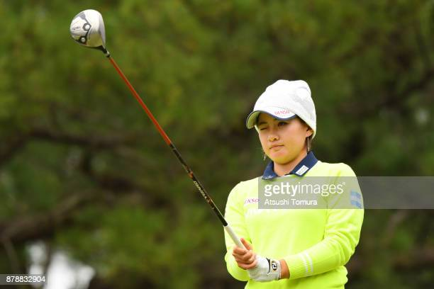 Kana Nagai of Japan lines up her tee shot on the 15th hole during the third round of the LPGA Tour Championship Ricoh Cup 2017 at the Miyazaki...