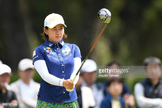 Kana Nagai of Japan lines up her tee shot on the 2nd hole during the second round of the KKT Cup Vantelin Ladies Open at the Kumamoto Airport Country...