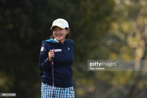 Kana Nagai of Japan looks on before tee shot on the first hole during the first round of the YAMAHA Ladies Open Katsuragi at the Katsuragi Golf Club...