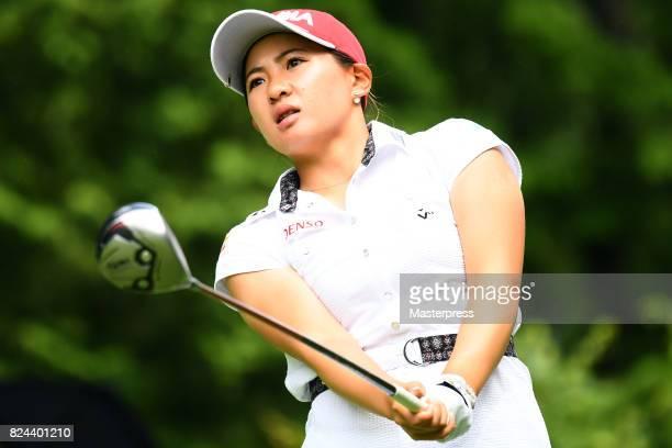 Kana Nagai of Japan looks on during the Daito Kentaku Eheyanet Ladies 2017 at the Narusawa Golf Club on July 30 2017 in Narusawa Yamanashi Japan