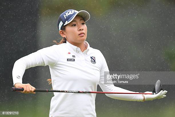 Kana Nagai of Japan looks on during the second round of the Stanley Ladies Golf Tournament at the Tomei Country Club on October 8 2016 in Susono Japan
