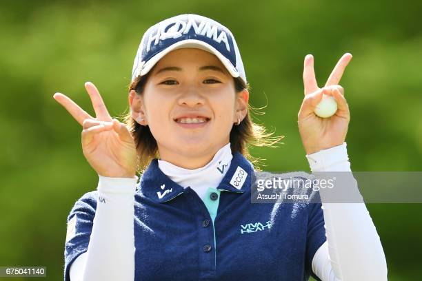 Kana Nagai of Japan poses during the final round of the CyberAgent Ladies Golf Tournament at the Grand Fields Country Club on April 30 2017 in...