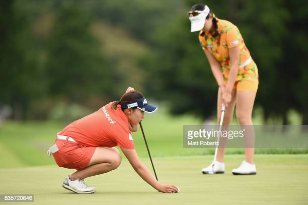 Kana Nagai of Japan prepares to putt on the 3rd green during the final round of the CAT Ladies Golf Tournament HAKONE JAPAN 2017 at the Daihakone...