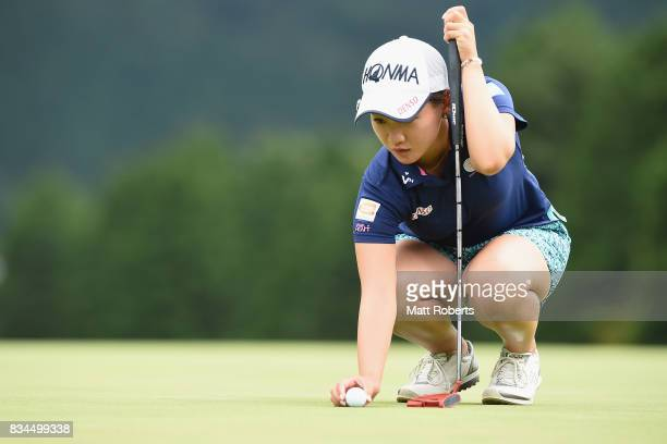 Kana Nagai of Japan prepares to putt on the first green during the first round of the CAT Ladies Golf Tournament HAKONE JAPAN 2017 at the Daihakone...