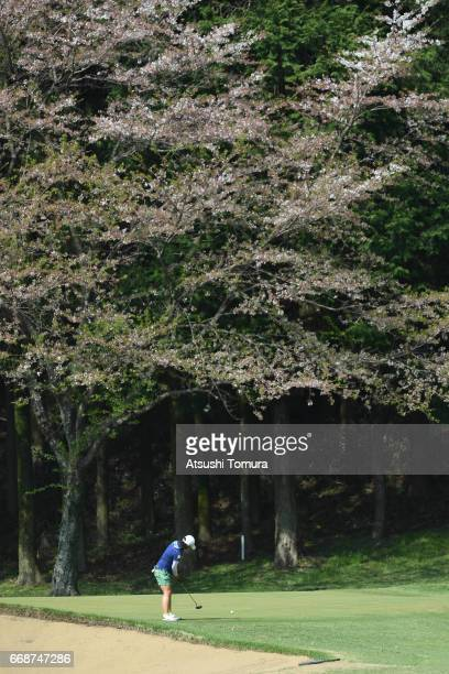 Kana Nagai of Japan putts on the 14th hole during the second round of the KKT Cup Vantelin Ladies Open at the Kumamoto Airport Country Club on April...