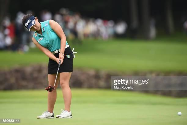 Kana Nagai of Japan putts on the 18th green during the second round of the NEC Karuizawa 72 Golf Tournament 2017 at the Karuizawa 72 Golf North...