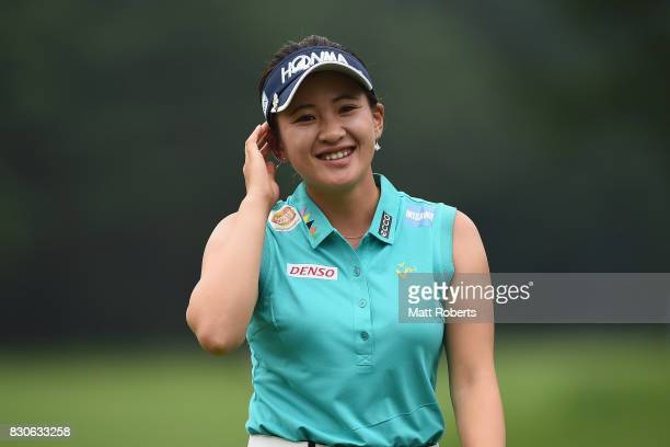 Kana Nagai of Japan reacts after her putt on the 18th green during the second round of the NEC Karuizawa 72 Golf Tournament 2017 at the Karuizawa 72...