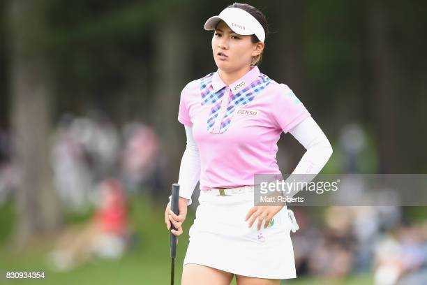 Kana Nagai of Japan reacts after her putt on the 18th green during the final round of the NEC Karuizawa 72 Golf Tournament 2017 at the Karuizawa 72...