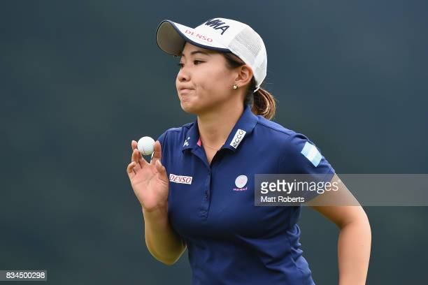 Kana Nagai of Japan reacts after her putt on the first green during the first round of the CAT Ladies Golf Tournament HAKONE JAPAN 2017 at the...
