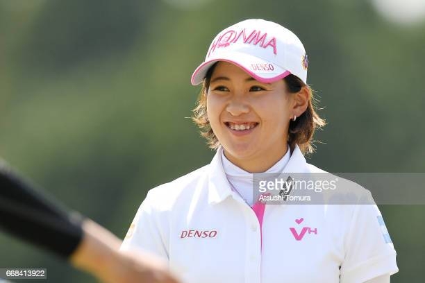 Kana Nagai of Japan smiles during the first round of the KKT Cup Vantelin Ladies Open at the Kumamoto Airport Country Club on April 15 2017 in Kikuyo...