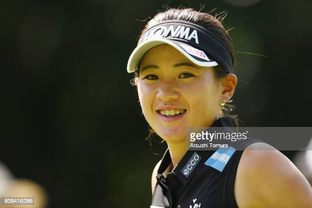 Kana Nagai of Japan smiles during the third round of the Nitori Ladies 2017 at the Otaru Country Club on August 26 2017 in Otaru Hokkaido Japan