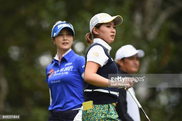 Kana Nagai of Japan watches her tee shot on the 2nd hole during the final round of the 50th LPGA Championship Konica Minolta Cup 2017 at the Appi...