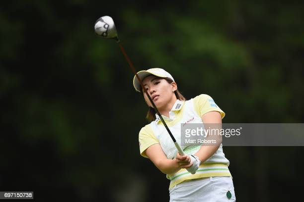 Kana Nagai of Japan watches her tee shot on the 7th hole during the final round of the Nichirei Ladies at the on June 18 2017 in Chiba Japan