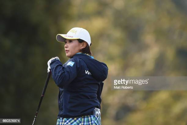 Kana Nagai of Japan watches her tee shot on the first hole during the first round of the YAMAHA Ladies Open Katsuragi at the Katsuragi Golf Club...