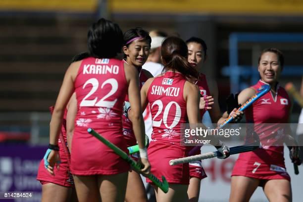 Kana Nomura of Japan celebrates scoring their teams second goal during day 4 of the FIH Hockey World League Semi Finals Pool B match between Poland...
