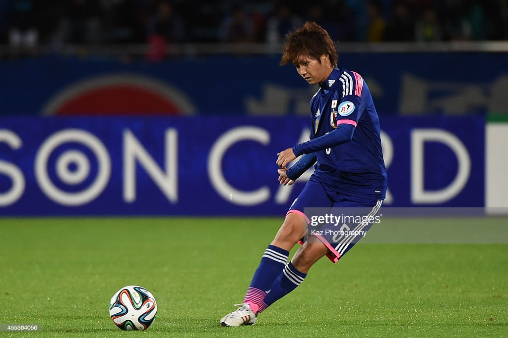 Kana Osafune of Japan passes the ball during the women's international friendly match between Japan and Ghana at ND Soft Stadium on September 13 2014...