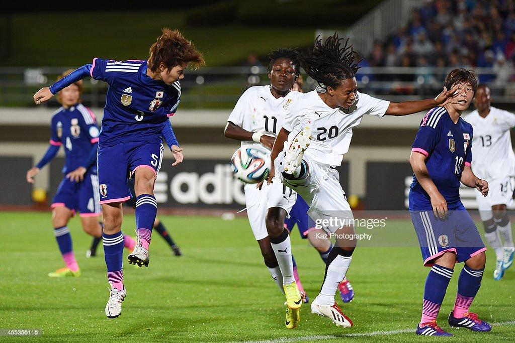 Kana Osafune of Japan wins the header over Linda Eshun of Ghana during the women's international friendly match between Japan and Ghana at ND Soft...
