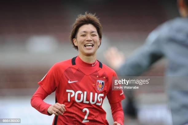 Kana Osafune of Urawa Red Diamonds Ladies celebrates scoring her team`s second goal during the Nadeshiko League Cup Group B match between Urawa Red...