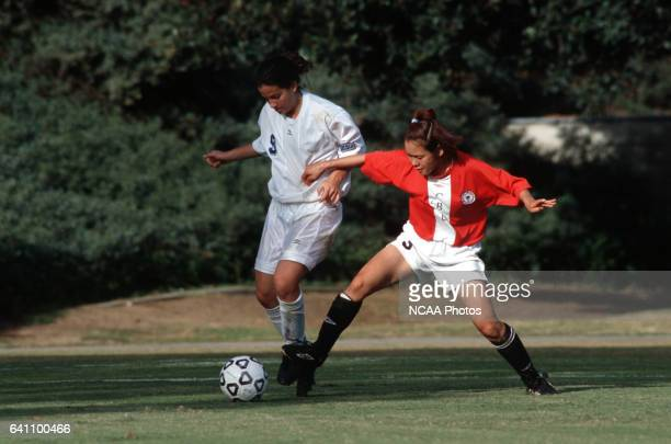 Kanae Haneishi of Christian Brothers University battles Kristin Jones of the University of CaliforniaSan Diego for control of the ball during the...
