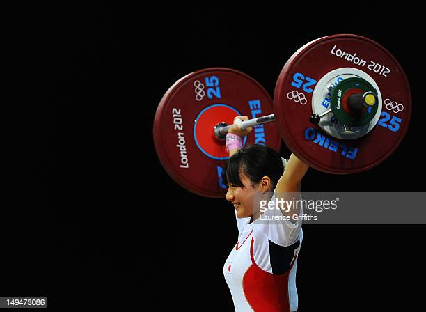 Kanae Yagi of Japan competes in the Womens 53kg Group B weightlifting on Day 2 of the London 2012 Olympic Games at ExCeL on July 29 2012 in London...