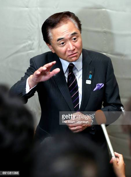 Kanagawa Prefecture Governor Yuji Kuroiwa speaks to media reporters after the organisers' meeting on May 31 2017 in Tokyo Japan