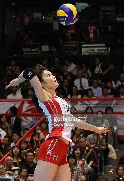 Kanako Hirai of Japan spikes the ball during the FIVB Women's World Olympic Qualification tournament match between Japan and Cuba at Yoyogi Gymnasium...