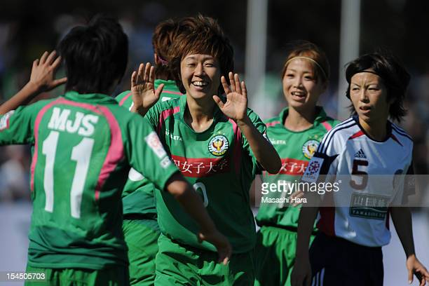 Kanako Ito of NTV Beleza celebrates the first goal during the Nadeshiko League match between NTV Beleza and Okayama Yunogo Belle at Ajinomoto Stadium...