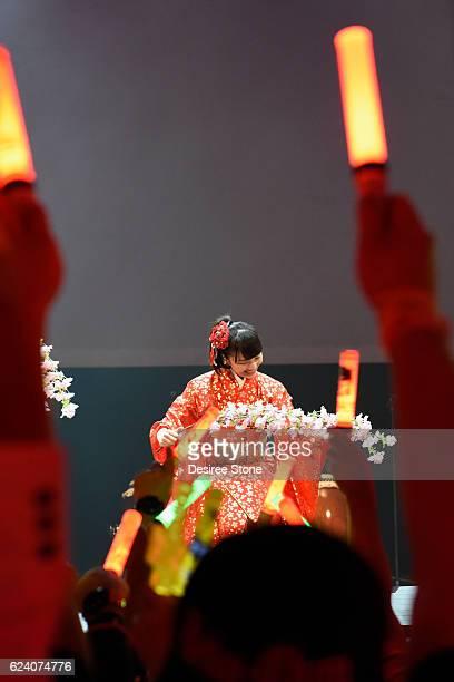 Kanako Momota of Momoiro Clover Z perform at The Wiltern on November 17 2016 in Los Angeles California