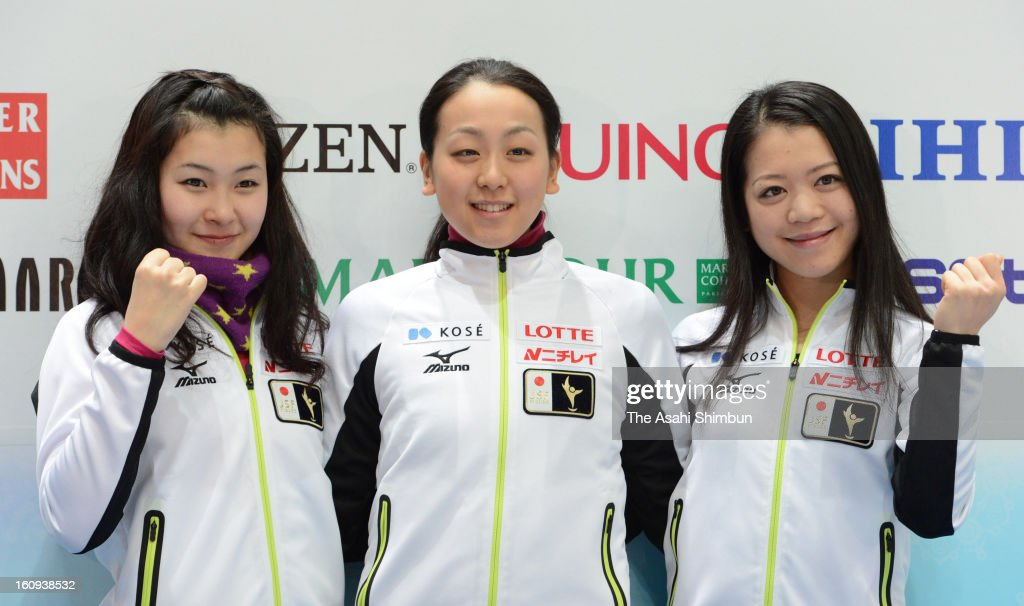 <a gi-track='captionPersonalityLinkClicked' href=/galleries/search?phrase=Kanako+Murakami&family=editorial&specificpeople=6665999 ng-click='$event.stopPropagation()'>Kanako Murakami</a>, <a gi-track='captionPersonalityLinkClicked' href=/galleries/search?phrase=Mao+Asada&family=editorial&specificpeople=247229 ng-click='$event.stopPropagation()'>Mao Asada</a> and <a gi-track='captionPersonalityLinkClicked' href=/galleries/search?phrase=Akiko+Suzuki&family=editorial&specificpeople=5621783 ng-click='$event.stopPropagation()'>Akiko Suzuki</a> of Japan pose for photographs during a press conference ahead of the ISU Four Continents Figure Skating Championships at Osaka Municpal Central Gymnasium on February 7, 2013 in Osaka, Japan.