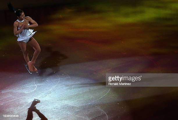 Kanako Murakami of Japan performs during the ISU World Figure Skating Championships 2013 Exhibition Gala at Budweiser Gardens on March 17 2013 in...