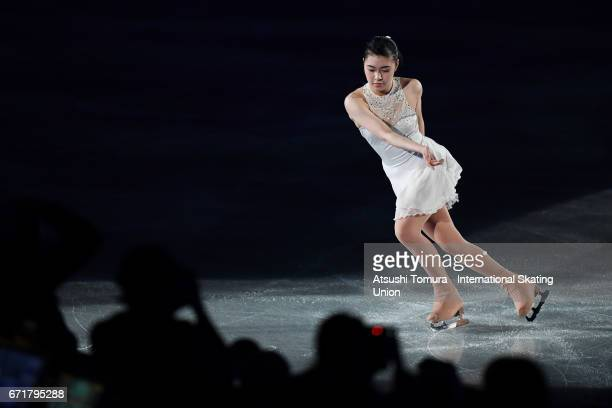 Kanako Murakami of Japan performs in the gala exhibition during the day 4 of the ISU World Team Trophy 2017 on April 23 2017 in Tokyo Japan