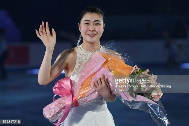 Kanako Murakami of Japan reacts in the gala exhibition during the day 4 of the ISU World Team Trophy 2017 on April 23 2017 in Tokyo Japan