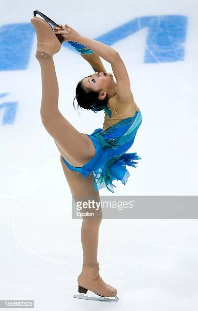 Kanako Murakami of Japan skates in the Ladies Short Program during ISU Rostelecom Cup of Figure Skating 2012 at the Megasport Sports Center on...