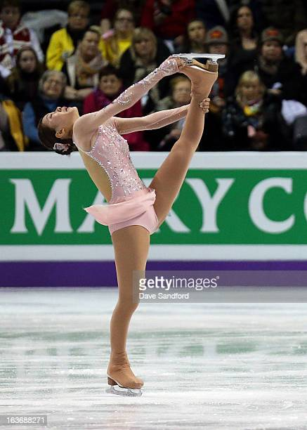 Kanako Murakami of Japan skates in the Ladies Short Program during the 2013 ISU World Figure Skating Championships at Budweiser Gardens on March 14...